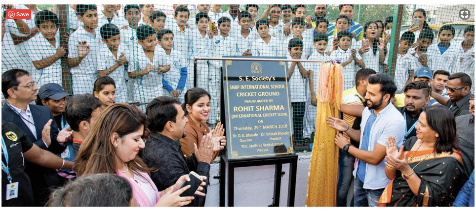 Rohit Sharma, hitman inaugurates mini cricket ground snbp school rahatani