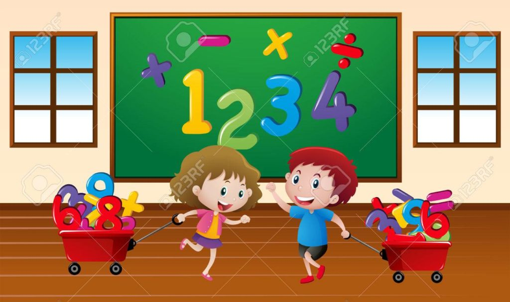 Kids learning math in classroom illustration